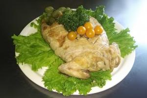 Курица фаршированная целиком сыром и грибами